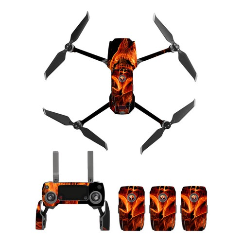 Sunnylife PVC Stickers for DJI Mavic 2 Pro/Zoom RC Drone - Flame Skull