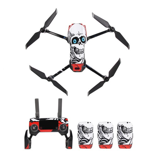 Sunnylife PVC Stickers for DJI Mavic 2 Pro/Zoom RC Drone - White Skull