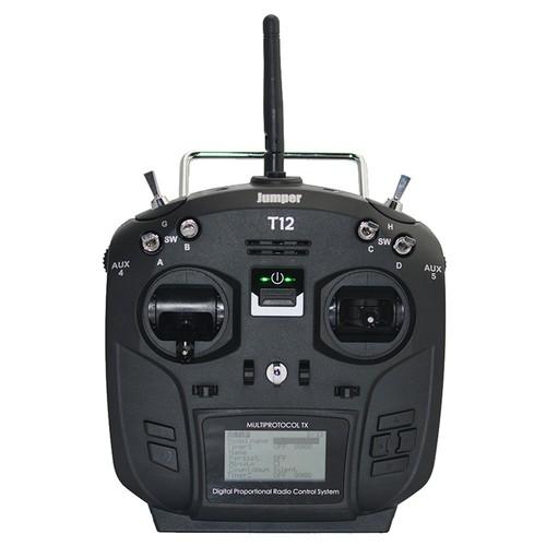 Jumper T12 PLUS 2.4G 16CH OpenTX Multi-protocol Transmitter with JP4-in-1 RF Module Hall Sensor Gimbal - Black