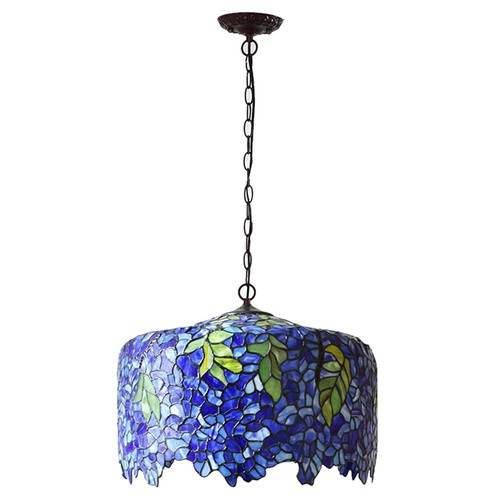 Fumat European Wisteria Pendant Light Stained Glass Purple Shade Design