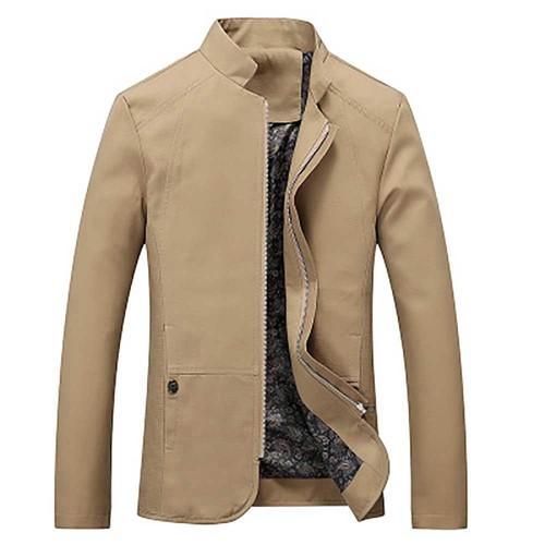 Men's Autumn Long Sleeve Business Casual Button Up Shirt (Slim Fit 100% Cotton Size XL) - Khaki