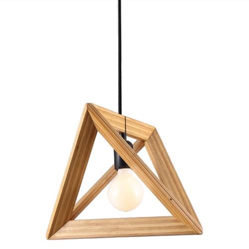 Fumat Nordic Post Modern Pendant Light Minimalist Triangle Wood Frame Design Dia 370mm