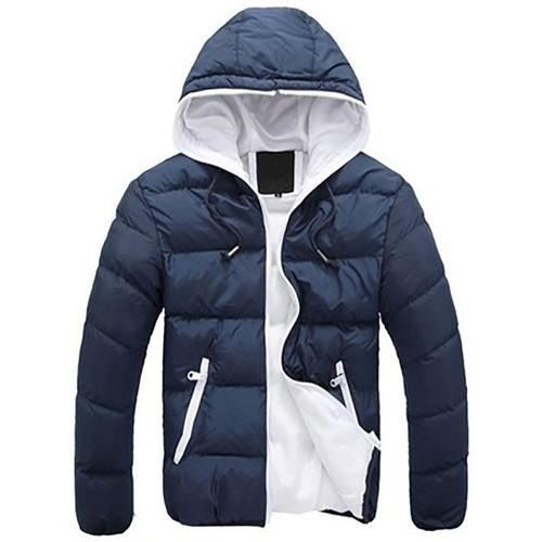 Agai mccf Herren Daunenjacke mit Kapuze und Candy Farbe (warmer Mantel, Größe L) Blau + Weiß