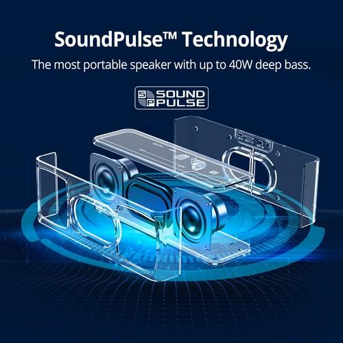Tronsmart Element Mega SoundPulse ™ רמקול Bluetooth 5.0 עם פלט מרבי חזק 40W 3D צליל דיגיטלי TWS בקרת מגע אינטואיטיבית – שחור