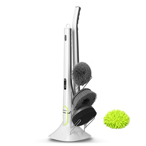 Phaewo Electric Spin Scrubber with LED Display Long Extension Handle Cleaning Brush - White