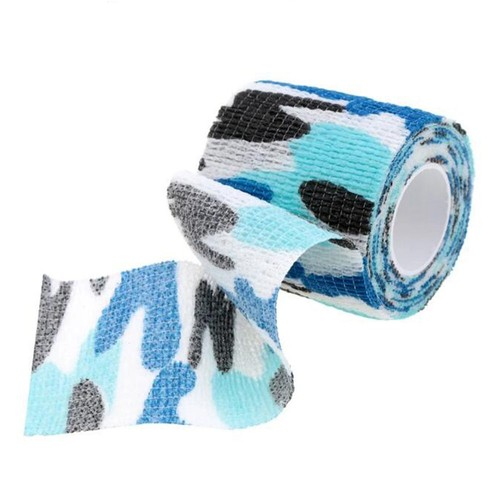 Reusable Wrap Elastic Stealth Tape for Outdoor Military Camouflage Hunting Camping Cycling - Blue Camouflage
