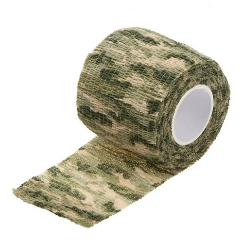 Reusable Wrap Elastic Stealth Tape for Outdoor Military Camouflage Hunting Camping Cycling - Green Camouflage