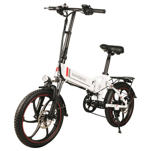 Samebike 20LVXD30 Portable Folding Smart Electric Moped Bike 350W Motor Max 35km/h 20 Inch Tire-White
