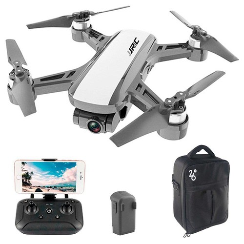 JJRC X9 Heron GPS 5G WiFi FPV Brushless RC Drone With 1080P HD Camera 2-Axis Gimbal RTF White - Two Batteries with Bag