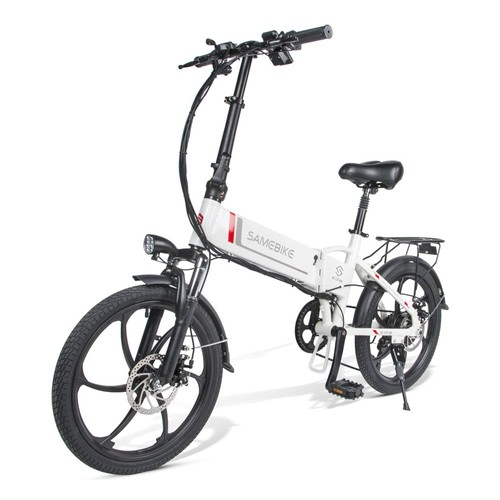 Samebike 20LVXD30 Portable Folding Smart Electric Moped Bike 350W Motor Max 35km/h 20 Inch Tire - White