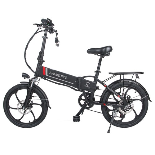 Samebike 20LVXD30 Portable Folding Smart Electric Moped Bike 350W Motor Max 35km/h 20 Inch Tire - Black