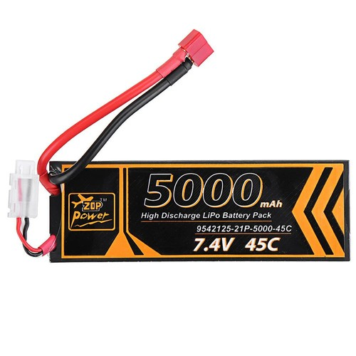 ZOP Power 2S 7.4V 5000mAh 45C Lipo Battery T Plug For RC Car Model FPV Racing Drone RC Airplane Helicopter