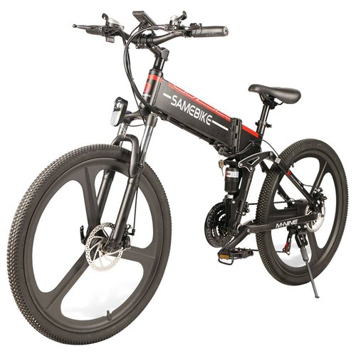Samebike LO26 Smart Folding Electric Moped Bike 350W Motor 10.4Ah Battery Max 35km/h 26 Inch Tire - Black