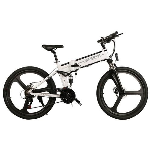 Samebike LO26 Smart Folding Electric Moped Bike 350W Motor 10.4Ah Battery Max 35km/h 26 Inch Tire - White
