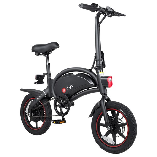 DYU D3  Folding Moped Electric Bike 14 Inch Inflatable Rubber Tires 240W Motor 10Ah Battery Max Speed 25km_h Up To 45km Range Dual Disc Brakes Adjustable Height  Black