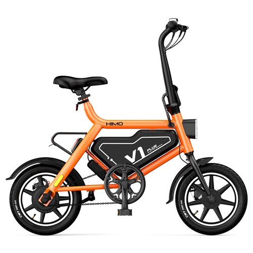 HIMO V1 Plus Portable Folding Electric Moped Bicycle 250W Motor 14 Inch Wheel Diameter Lightweight Design  Orange
