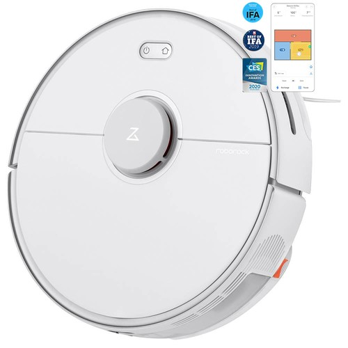 Roborock S5 Max Robot Vacuum Cleaner Virtual Wall Automatic Area Cleaning 2000pa Suction 2 in 1 Sweeping Mopping Function LDS Path Planning International Version  White