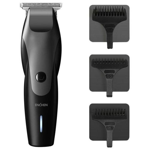 Tagliacapelli Enchen Hummingbird elettrico ricaricabile USB a basso rumore con 3 pettini per capelli Batteria al litio 1500mAh da Xiaomi Youpin - Nero