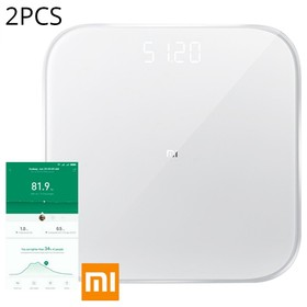 2PCS Xiaomi Smart Body Weight Scale 2 Bluetooth 5.0 APP Control LED Display Fitness Yoga Tools Scale Global Version-ホワイト