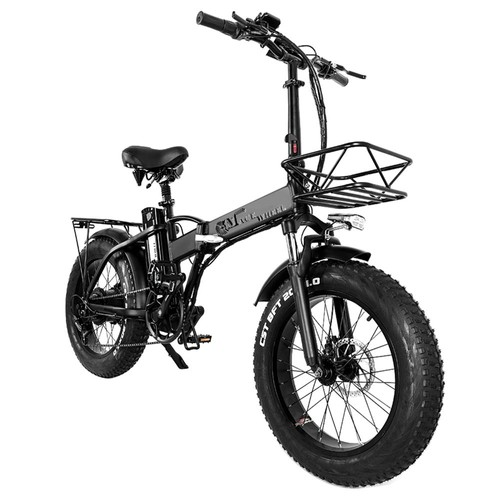 CMACEWHEEL GW20 Folding Electric Moped Bike 20 x 4.0 Fat Tires Five Speeds 750W Motor Up To 100km Range Max Speed 45km/h Smart Display with TAIL PACK - Black