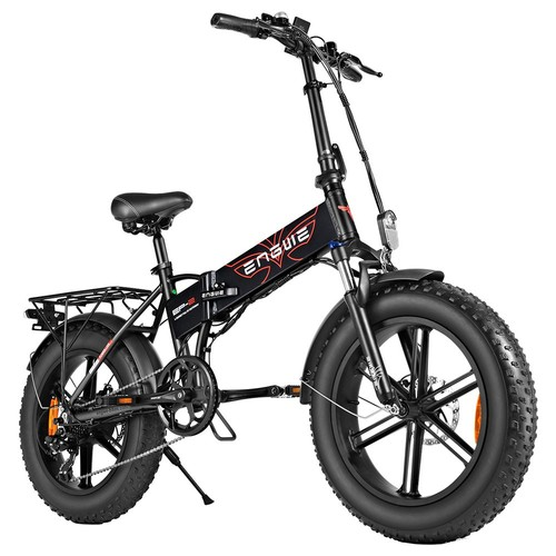 ENGWE EP_2 500W 20 inch Fat Tire Electric Folding Bicycle Mountain Beach Snow Bike for Adults Aluminum Electric Scooter 7 Speed Gear E_Bike with Removable 48V 12.5A Lithium Battery Dual Disc  Black