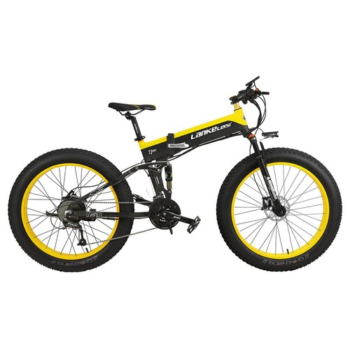 LANKELEISI XT750 Plus Folding Electric Bike Bicycle 48V 12.8AH 500W 26X4.0 Fat Tire Aluminum Alloy Frame Shimano Gear Shift Max Speed 40km_h IP54 100KM Mileage Range  Black Yellow