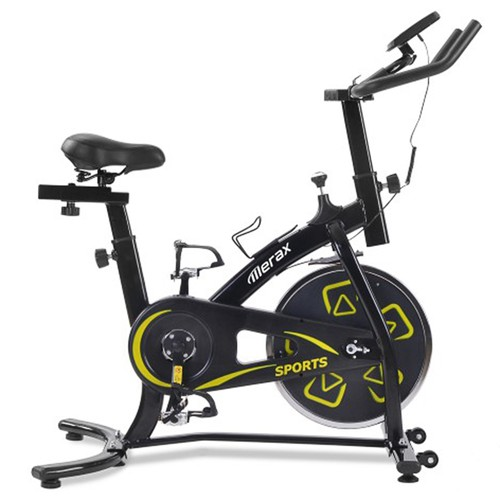 Merax Exercise Bike Indoor Bike with LCD Console Adjustable Seat and Handlebar Comfortable Seat Cushion Cardio Training  Black Yellow