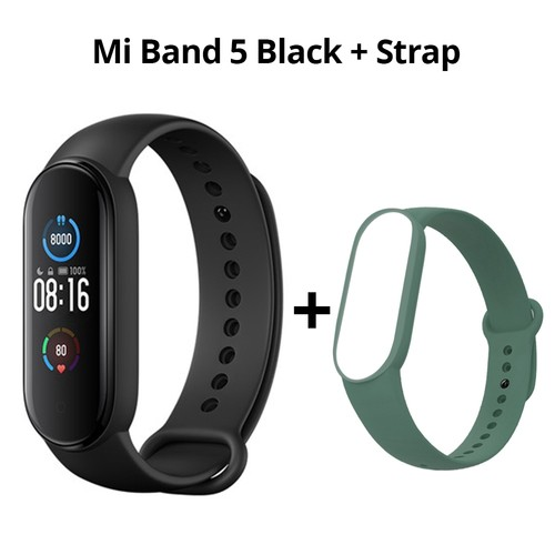 Xiaomi Mi Band 5 Smart Bracelet Bluetooth 5.0 Sports Fitness Tracker Chinese Version Black + Green Strap