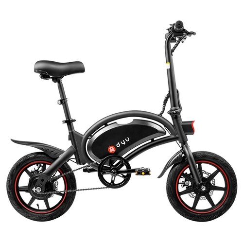 DYU D3F with Pedal Folding Moped Electric Bike 14 Inch Inflatable Rubber Tires 240W Motor Max Speed 25km_h Up To 45km 6Ah Battery Range Dual Disc Brakes Adjustable Height  Black