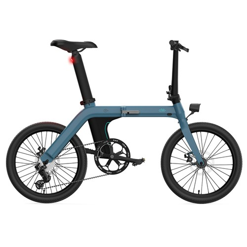 FIIDO D11 Folding Electric Moped Bicycle 20 Inches Tire 25km/h Max Speed Three Modes 11.6AH Lithium Battery 100km Range Adjustable Seat Dual Disc Brakes with LCD Display for Adults Teenagers + Mudguards - Blue