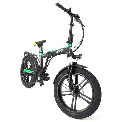 BFISPORT BFI_20 Folding Electric Mountain Bike 20 inch 3.0 Fat Tire 250W Motor 6.4Ah LG Battery Display  Black Green
