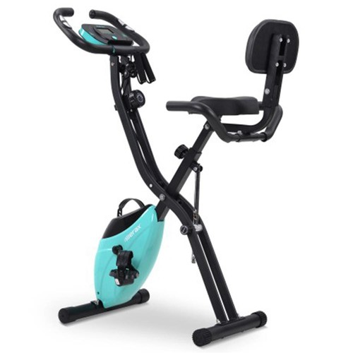 X_Bike Exercise Bike Magnetic Foldable Fitness Bike for Cardio Workout Indoor Cycling with Training Computer and Expander Bands  Blue