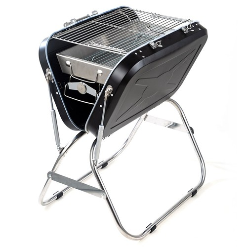 Portable Foldable Charcoal Grill Stainless Steel Material Adjustable Grate Height For Outdoor Camping Terrace Picnic - Black