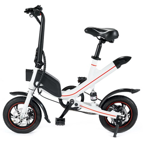 OUXI V1 12inch Electric Folding Bike for Adults Ebike with 350W Motor 7.8AH Lithium Battery Up to 25km_h City Bicycle IP54 Dual Disk Brake  White
