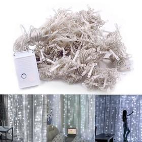 3m x 3m 110V LED Decorative Tandem Light 300 Bulbs Outdoor Christmas Decoration Wedding Curtain Lights - Cold White Light