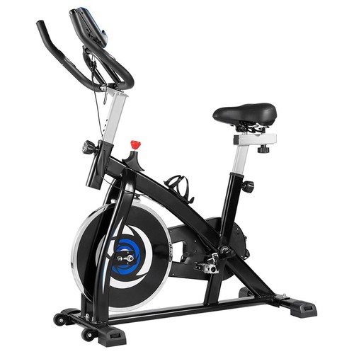 Indoor Cycling Bike with 4_Way Adjustable Handle & Seat, Home Fitness Stationary Aerobic Portable Spinning Bike  Blue Black