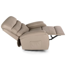 Electric Lift Linen Multifunction Massage Recliner 5 Modes Waist Heating Comfortable Soft and Easy to Clean For Reading Resting Watching TV - Khaki