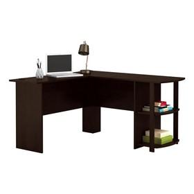 FCH L-shaped Wooden Computer Desk 2-story Locker For Study Office - Dark Brown
