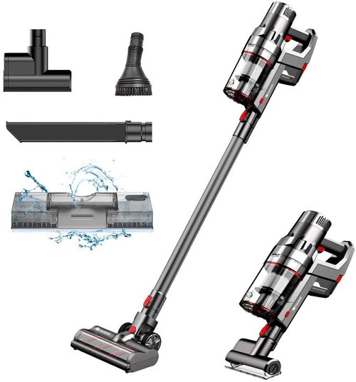 Proscenic P11 Handheld Cordless Vacuum Cleaner 25Kpa 450W 2 in 1 Vacuuming Mopping ,Touch Screen, Removable & Rechargeable 2500mAh Battery, Lightweight Vacuum for Hard Floor, Carpet, Pet Hair Gray