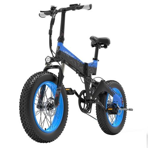 LANKELEISI X3000 Plus Folding Electric Bike Bicycle 48V 1000W Motor 10.4Ah Battery 26x4.0 Tires Aluminum Alloy Frame Hydraulic Disk Brake Shimano 7 Speed Derailleur Max Speed 46km/h 90KM Mileage Range 3 Riding modes - Black Blue