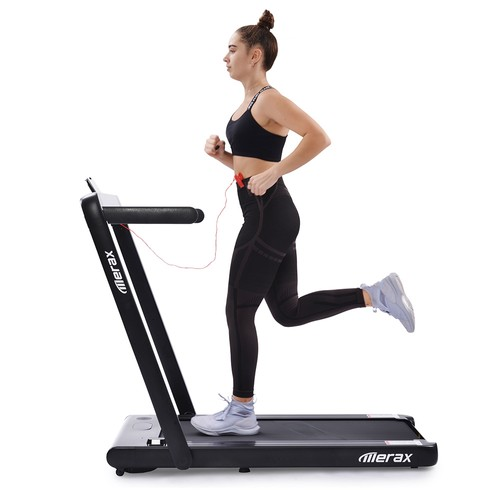 Merax 2.25 HP Electric Folding Treadmill 2_in_1 Running Machine with Remote Control_LED Display Fully Assembled Portable  Black