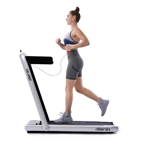 Merax 2.25 HP Electric Folding Treadmill 2_in_1 Running Machine with Remote Control_LED Display Fully Assembled Portable  Silver