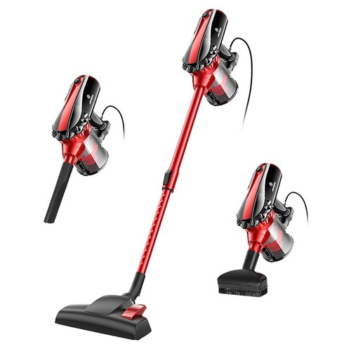 MOOSOO D600 Handheld Corded Vacuum Cleaner 500W Motor 17Kpa Strong Suction 3-stage Filtration System With Rotatable Brush Head for Pet Hair, Dirt, Debris, Hard Floor, Carpet - Red