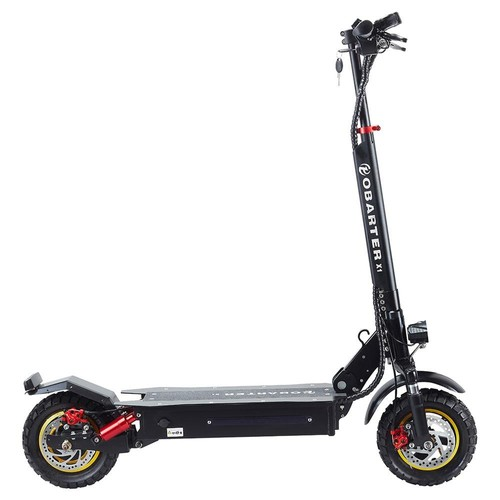 """OBARTER X1 Folding Electric Sport Scooter 10"""" Off-road tire 500W Brushless Motor 48V 20Ah Battery BMS 3 Speed Modes Dual Disc Brake Max Speed 55KM/h LED Display 40-50KM Long Range - Black"""