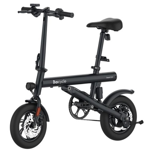Baicycle Mini Electric Folding Bike 12 Inch tire 7.8Ah Battery 250W Motor Max Speed 25km/h Dual Disk brake moped mode max 50km range Aluminum alloy body 3 Riding Modes - Black
