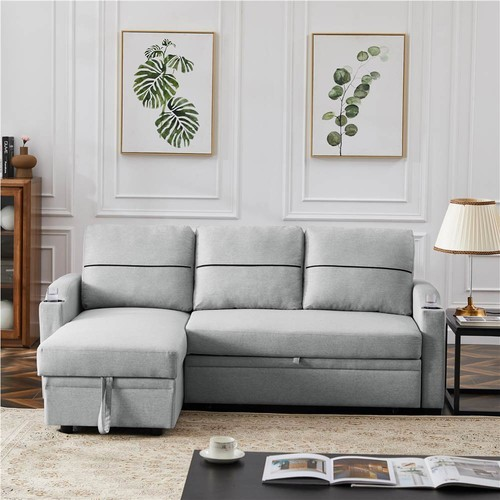 L_shaped Corner Linen Storage Sofa Bed for Living Room, Apartment, Office  Gray