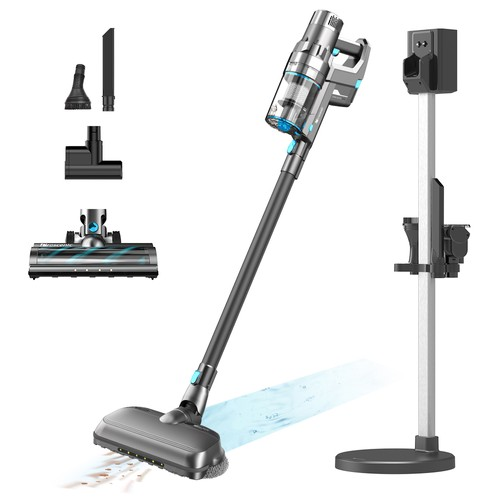 Proscenic P11 Combo Handheld Cordless Vacuum Cleaner With Rotating Mops Double Main Brush Head 25000pa 450W 2 in 1 Vacuuming Mopping, LED Touch Screen, Removable & Rechargeable 2500mAh Battery, Rechargeable Stand Holder  Gray