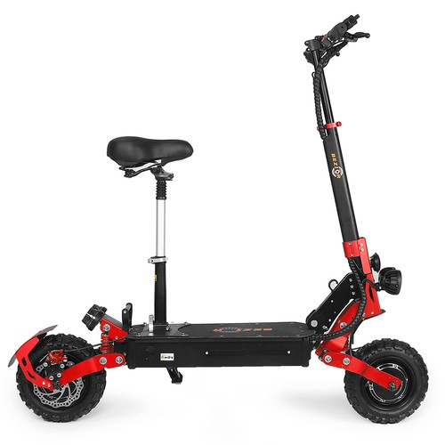 Bezior S2 Folding Electric Scooter 1200W*2 Dual Motor LCD Display Max 65Km/h 11 Inch Off-Road Tire 21Ah Battery up to 60km Range Dual Shock Mitigation Dual Disk Brake LED Light - Red