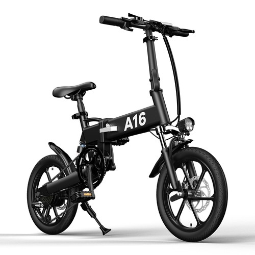 ADO A16 Electric Folding Bike 16 inch City Bicycle 350W Hall Brushless Motor SHIMANO 7-Speed Rear Derailleur 36V 7.8Ah Removable Battery 35km/h Max speed up to 35km Max Range IPX5 Double Shock-absorption Aluminum alloy Frame 16*1.95 Tires - Black