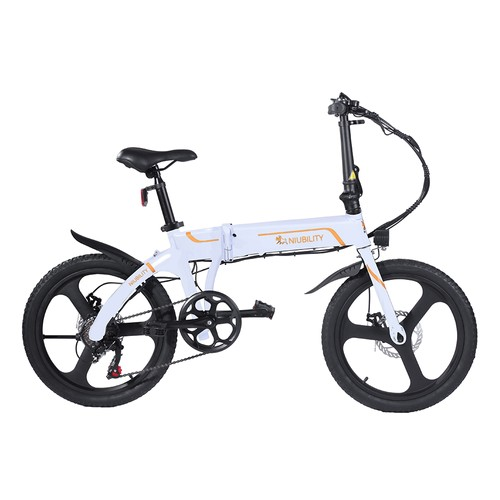 NIUBILITY B20 Electric Moped Folding Bike 20 inch 42V 10.4Ah Battery 40km -50km Mileage 350W Motor Max 25km/h Double Disc Brake Variable Speed System SHIMANO 6-Speed rear derailleur LED Light KMC Chain - White